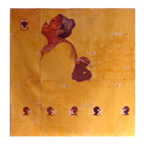 If I was a different person (2003) Pastels, wax, shells, wire, sequins, safety pin on Canvas paper (5 ft x 6ft).