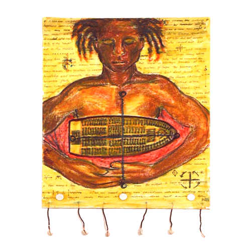 The Crossing …Letters to my Ancestors (2001) Pastels, wax, beads, mirrors on Canvas paper (16 x 20)