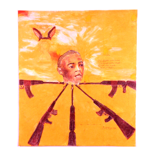 I will to you Rage (2003) Pastels, wax, shells, wire on Canvas paper (3ftx4 ft)