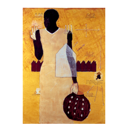 The Water Carrier (2003) Pastels, wax, shells, wire, linocut on canvas (4 ft x 6ft.)