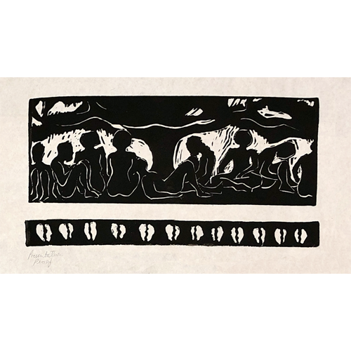 "Tree of forgetfulness vs. Ashe (2000)Linocut (12 x 16"")"
